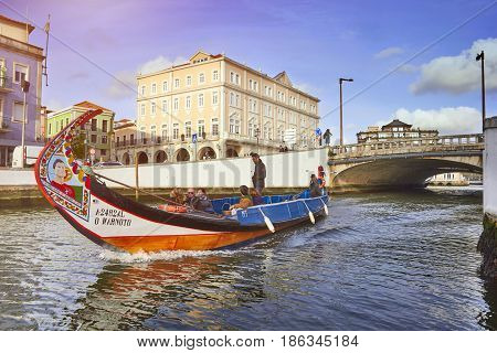 AVEIRO PORTUGAL - MARCH 21 2017: The main City canal and Vouga river with traditional boat Aveiro Portugal on March 21 2017