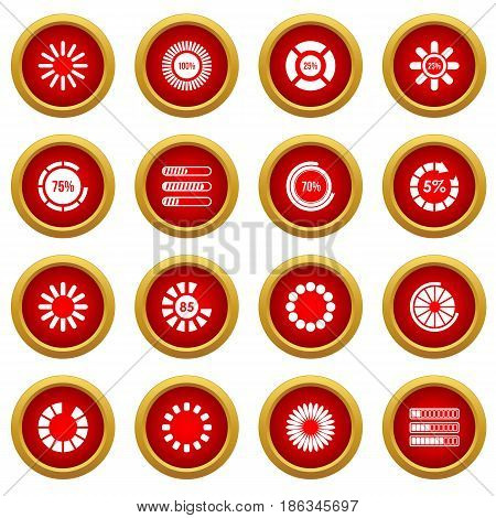 Loading bars and preloaders icon red circle set isolated on white background