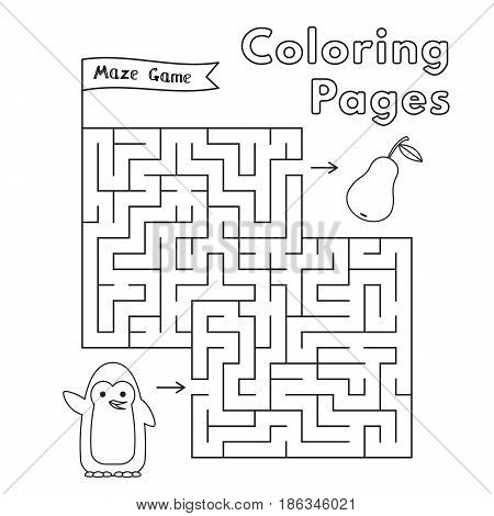 Cartoon penguin maze game. Vector coloring book pages for children