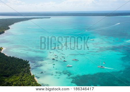 Aerial View Of Caribbean Coastline From A Helicopter, Dominican Republic