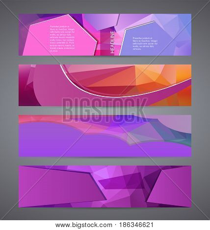 Horizontal Web Banner Triangle Mosaic Background Set Template02
