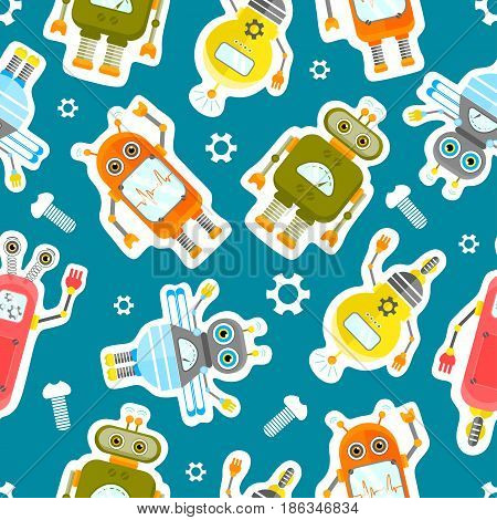 Robots Character Stickers seamless background.. Isolated vector robots stickers