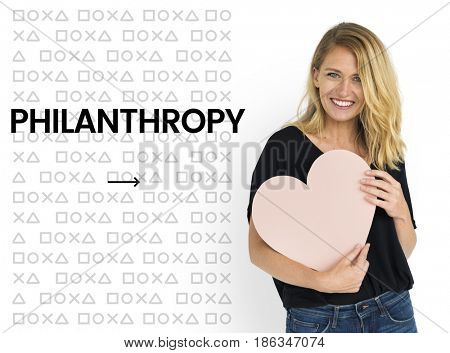 Woman holding network graphic overlay banner background