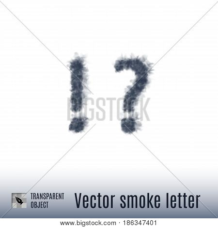 Smoke in Shape of the Exclamation and Question Marks on White Background