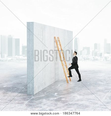 Side view of businessman climbing ladder leaning on concrete wall. City background. Growth concept. 3D Rendering