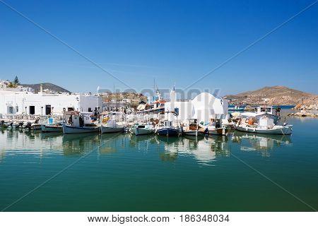 Naoussa Greece Cyclades. Beautiful town of Naoussa