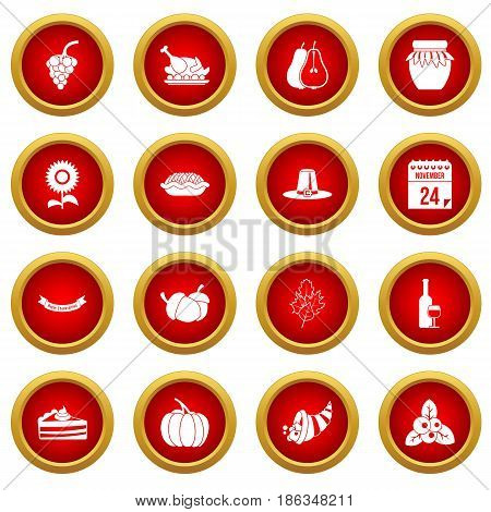 Thanksgiving icon red circle set isolated on white background