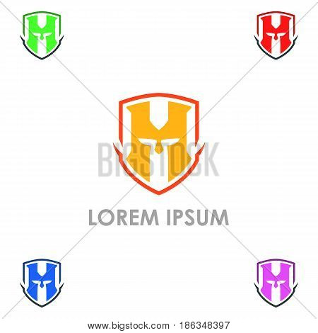 Spartan army lowercase flat logo design template. Colorful media icon. Vision Logotype concept idea.