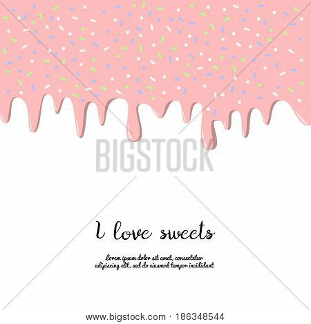 Dripping pink donut glaze background. Vector illustration.