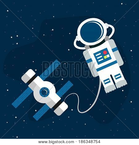 Astronaut and space station in the background of an open space. Vector illustration in a flat style