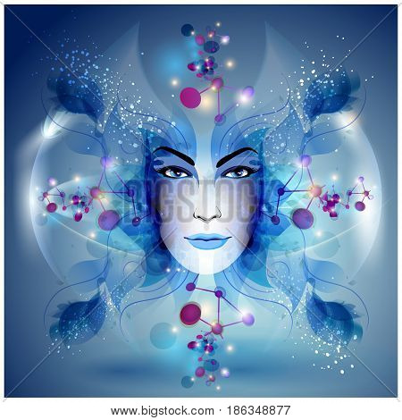 Abstract and mystic woman face colorful dark illustration