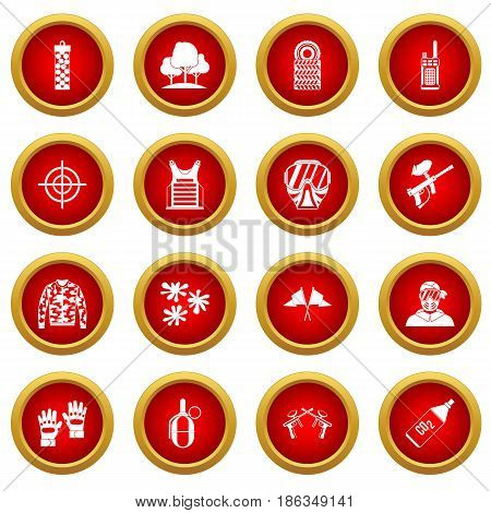 Paintball icon red circle set isolated on white background