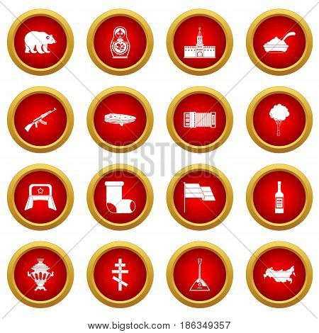 Russia icon red circle set isolated on white background