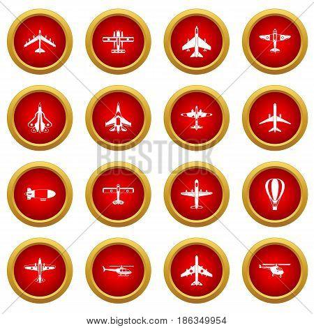 Aviation icon red circle set isolated on white background