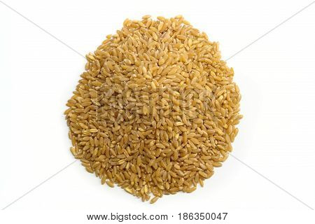 Pile of wheat isolated on white (Photo taken from top view)