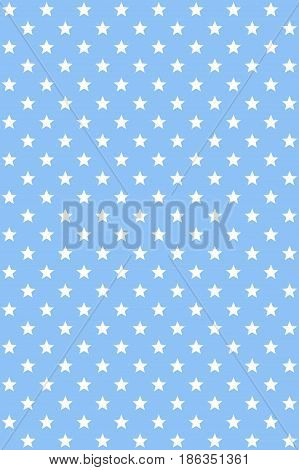 Abstract blue modern seamless pattern with white stars. Stellar background. Vector seamless background