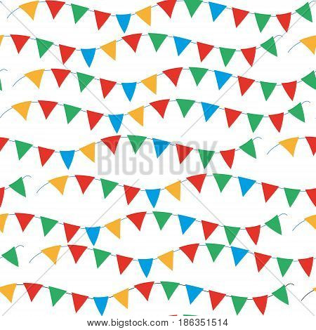 Kids, carnival seamless pattern with bunting, garlands. Bright festive background, texture with ribbons. Vector illustration