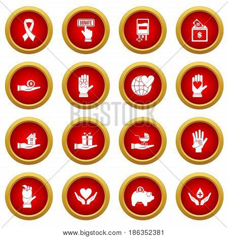 Charity icon red circle set isolated on white background
