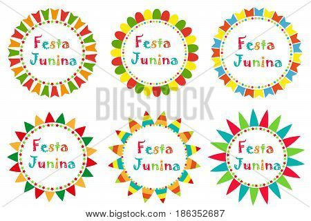 Festa Junina set frame with space for text. Brazilian Latin American festival blank template for your design, isolated on white background. Vector illustration
