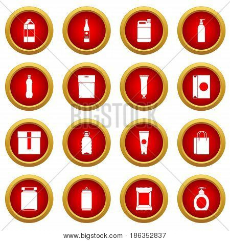 Packaging items icon red circle set isolated on white background
