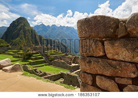 Stone Brick Wall In Machu Picchu