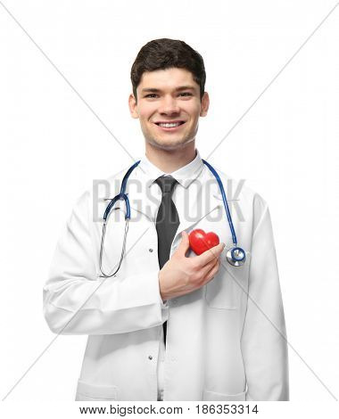 Handsome young cardiologist on white background