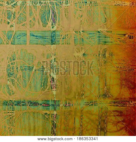 Vintage colorful textured background. Backdrop in grunge style with antique design elements and different color patterns: yellow (beige); brown; green; blue; red (orange)