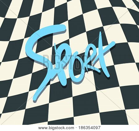 SPORT text on finish flag checkered background vector illustration