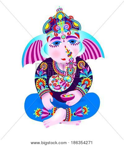 vector illustration of Lord Ganesha, indian elephant got for Ganesh Chaturthi holiday