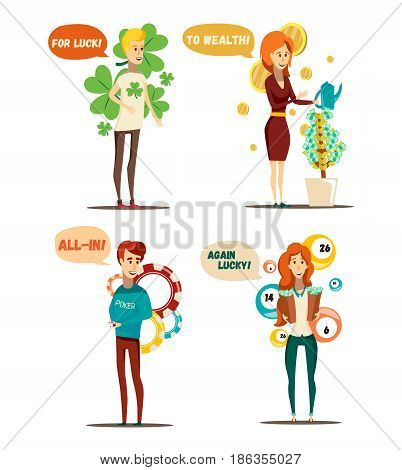 Lucky situations set of four isolated flat human characters and poker lottery money tree conceptual items vector illustration