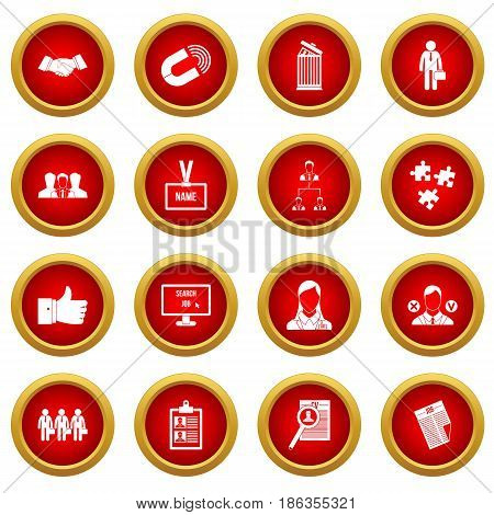 Human resource management icon red circle set isolated on white background