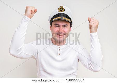 Portrait Of Captain With Sailor Cap