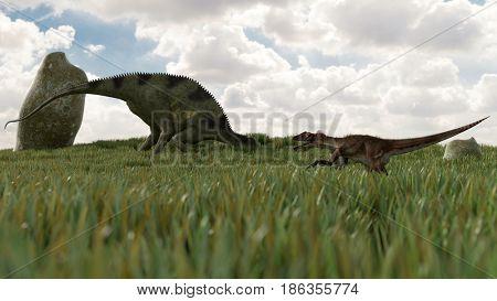 3d illustration of the Utahraptor hunting