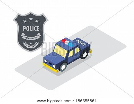 Police badge with police car in isometric view security protection concept vector illustration.
