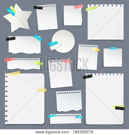 Realistic set of paper scraps and clean sheets torn from school notebook on gray background  isolated vector illustration
