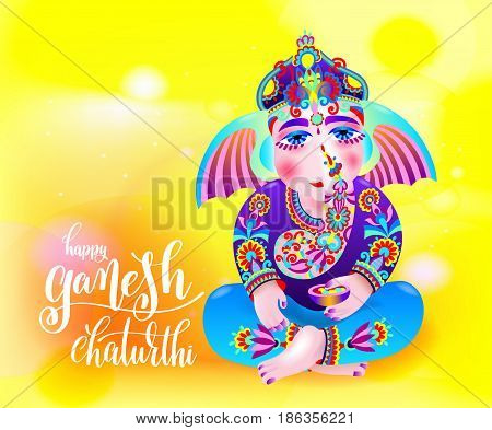 happy ganesh chaturthi beautiful greeting card or poster for indian festival with lord ganesha and hand lettering on abstract yellow orange background, vector illustration
