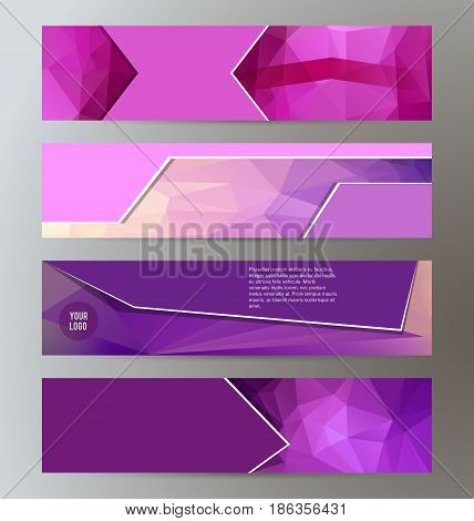 Horizontal Web Banner Triangle Mosaic Background Set Template05