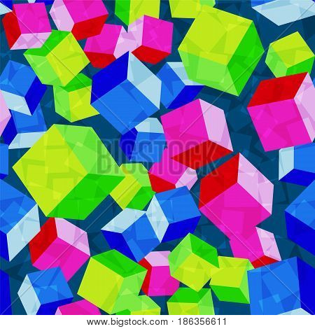 Chaos blocks acid red green blue seamless pattern vector background. Chaotic rhombus repeat endless backdrop.