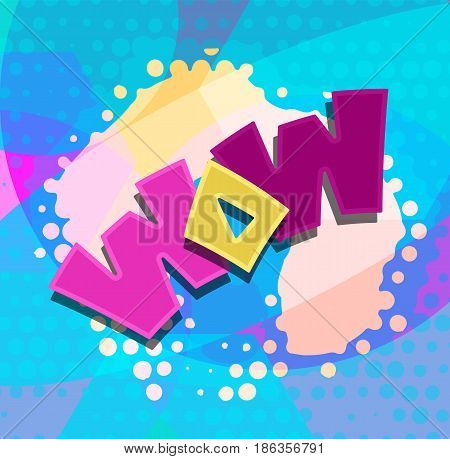 WOW text colorful blobs dots abstract vector illustration