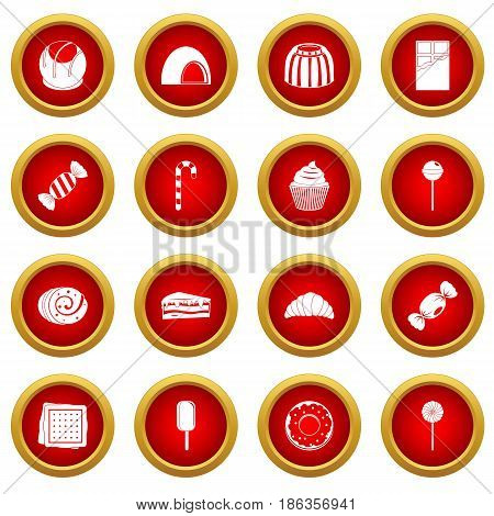 Sweets and candies icon red circle set isolated on white background