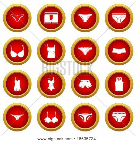 Underwear items icon red circle set isolated on white background