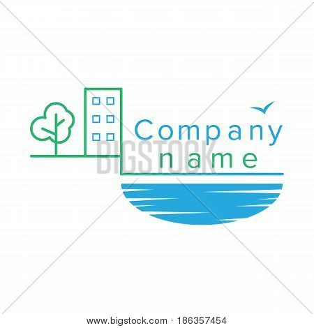 Tree, sea, water, high-rise buildings apartments logo vector outline
