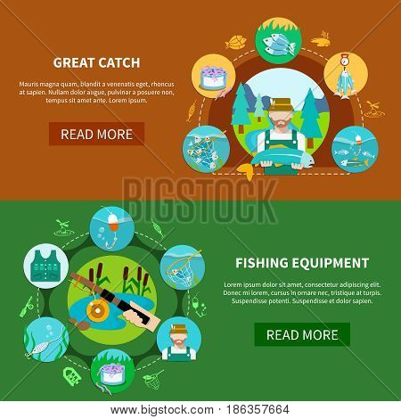 Fishing equipment banners set with water vessels and fish tackle flat images with editable text vector illustration