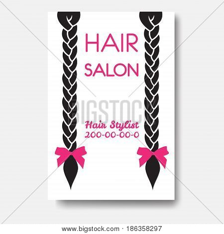 Vector design template with braids. Template hair business card.