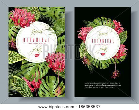 Vector botanical vertical banners with tropical leaves and red exotic flowers on black background. Design for cosmetics, spa, health care products, perfume. Can be used as wedding, summer background