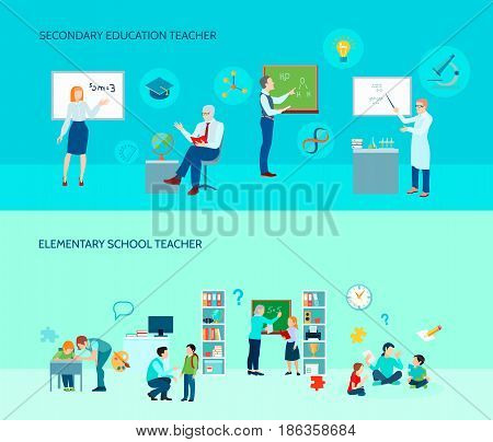 Elementary and secondary education school teachers in classroom 2 flat horizontal background banners set isolated vector illustration