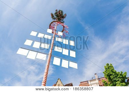 Blank White Signs On Traditional German May Pole Maibaum Blue Skies Local Tradition