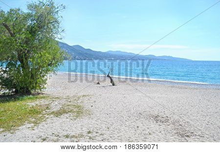 Verga beach at Kalamata Messinia Peloponnese Greece
