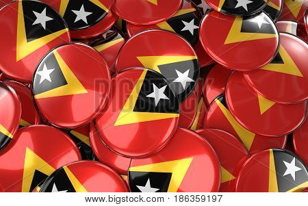 East Timor Badges Background - Pile Of Timorese Flag Buttons.