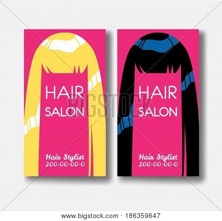Hair salon business card templates with blonde hair and black hairon pink background